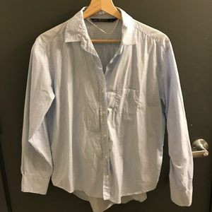 light blue/white striped button down shirt
